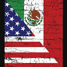 Vintage Mexican American Flag Cool T-Shirt by EthosWear