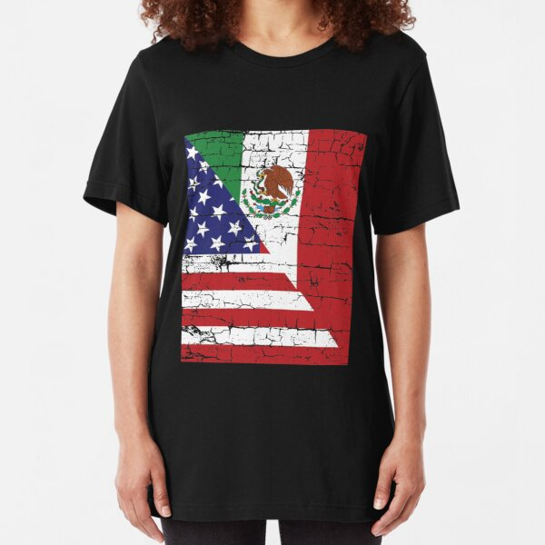 Vintage Mexican American Flag Cool T-Shirt Slim Fit T-Shirt