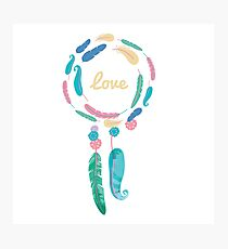 Boho Watercolor Feather Dreamcatcher Photographic Print