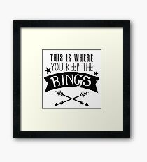This is where you keep the rings (awesome ring bearer throw pillow) Framed Print