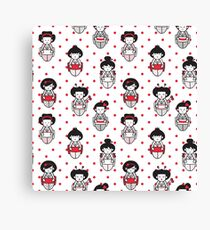 Cartoon Geisha Pattern Canvas Print