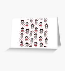 Cartoon Geisha Pattern Greeting Card
