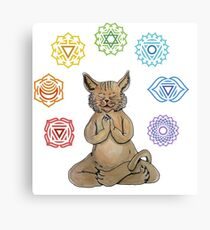 Yoga Cat with Chakras Lienzo metálico
