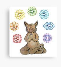 Yoga Cat with Chakras Lienzo