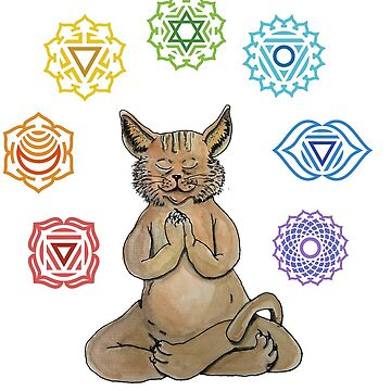 Yoga Cat with Chakras de laramaktub