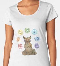 Yoga Cat with Chakras Camiseta premium para mujer