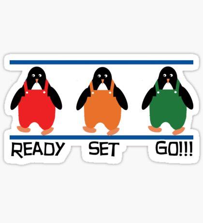 penguin races Sticker