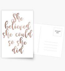 Rose Gold glaubte sie, dass sie es könnte Postkarten
