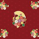 Chrysanthemum flower and Japanese pattern by hichako