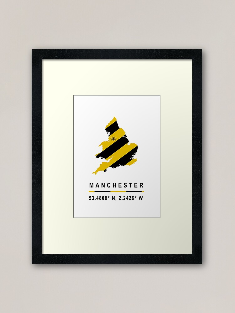 Alternate view of Manchester GPS Bee Map Framed Art Print