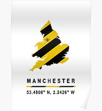 Manchester GPS Bee Map Poster