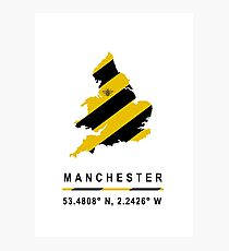 Manchester GPS Bee Map Photographic Print