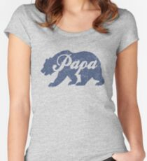 Vintage Papa Bear Father's Day Gift Women's Fitted Scoop T-Shirt