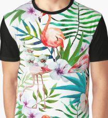 Tropical Flamingo Hibiscus Graphic T-Shirt