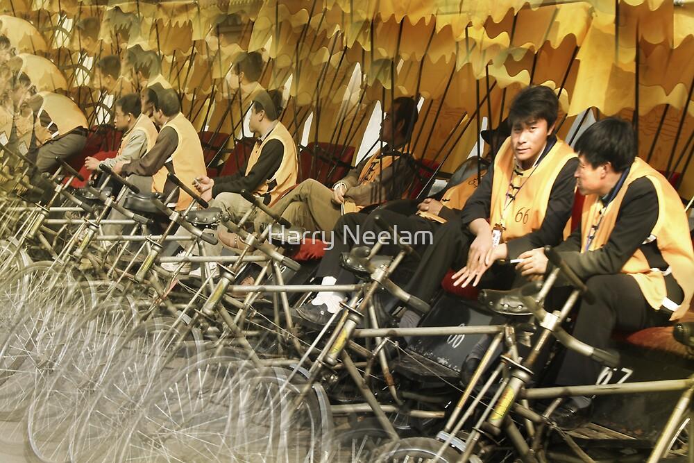 Yellow Rickshaws - Beijing China by Harry Neelam