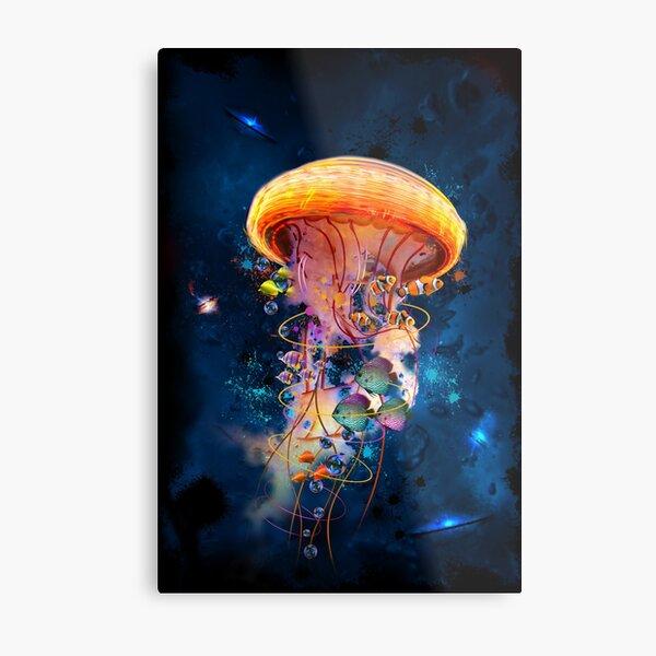 Electric Jellyfish World Metal Print