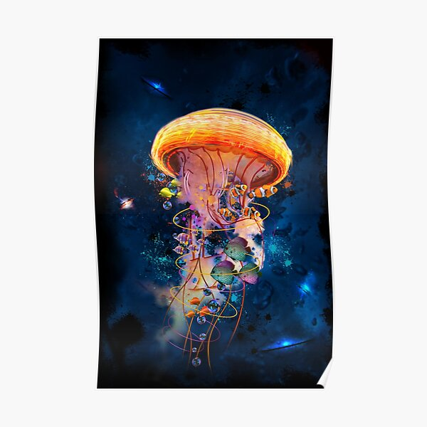 Electric Jellyfish World Poster