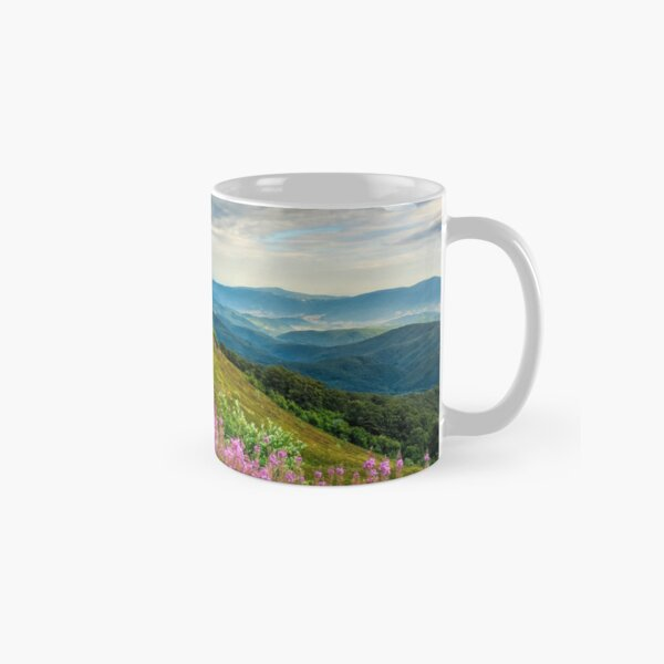 meadow with purple flowers in mountains Classic Mug