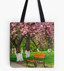 cherry blossom in city park Tote Bag