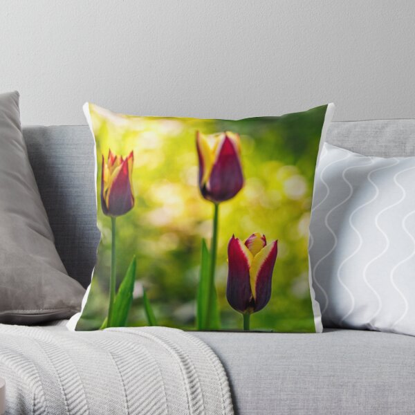 tulip with stripe on shady glade Throw Pillow