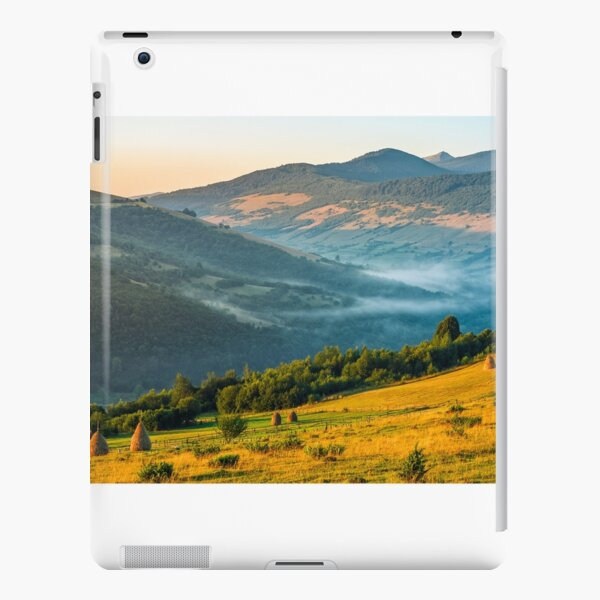 stacks of hay on the hill side iPad Snap Case