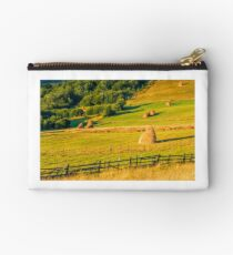 haystacks and a trees on a hillside meadow Studio Pouch