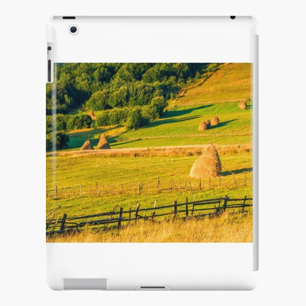 haystacks and a trees on a hillside meadow iPad Snap Case