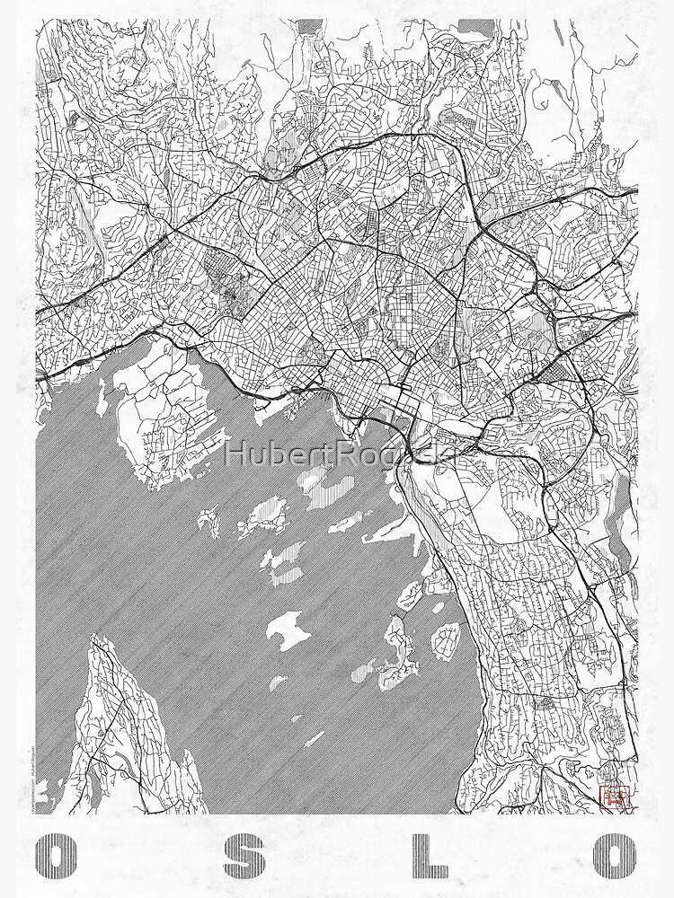 Oslo Map Line by HubertRoguski