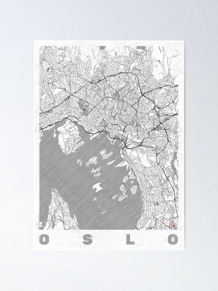 Alternate view of Oslo Map Line Poster