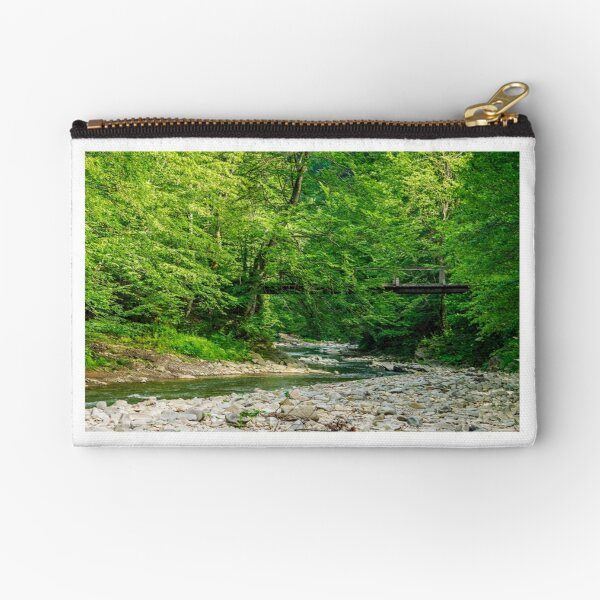bridge over the forest river Zipper Pouch