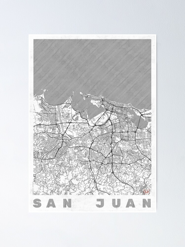 Alternate view of San Juan Map Line Poster