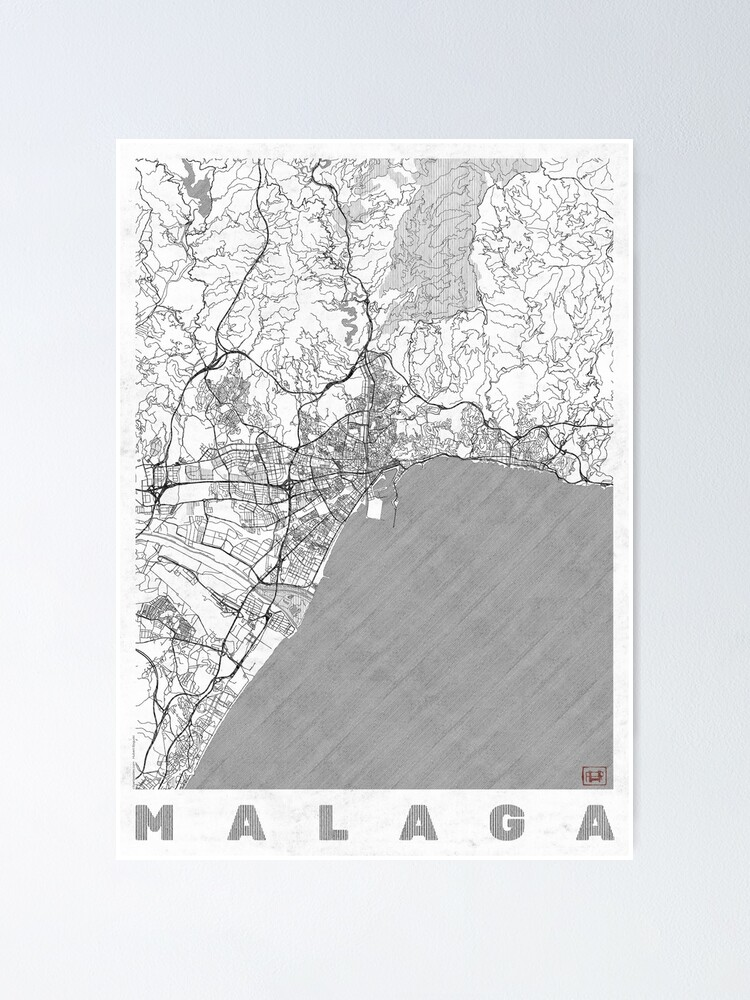 Alternate view of Malaga Map Line Poster