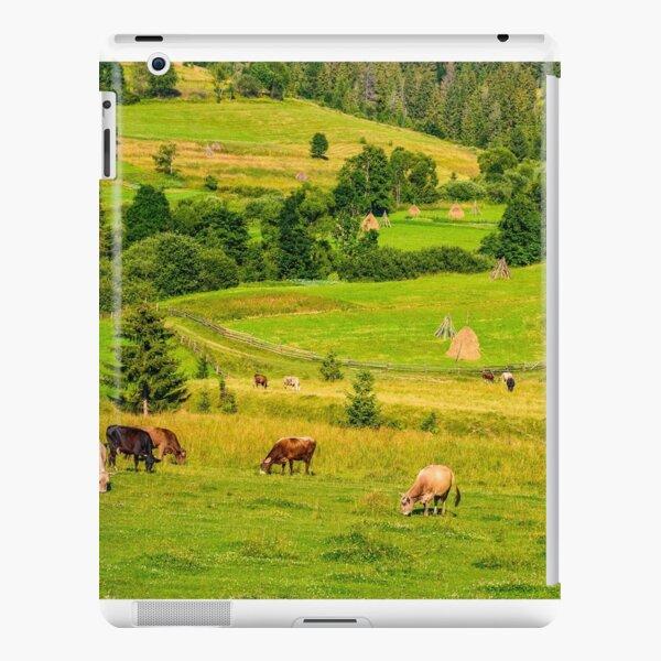 few cows grazing on hillside meadow iPad Snap Case