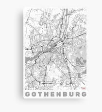 Gothenburg Map Line Canvas Print