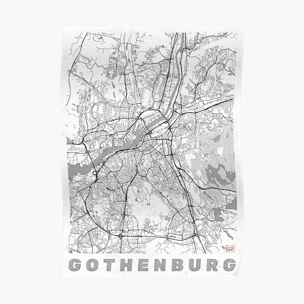 Gothenburg Map Line Poster