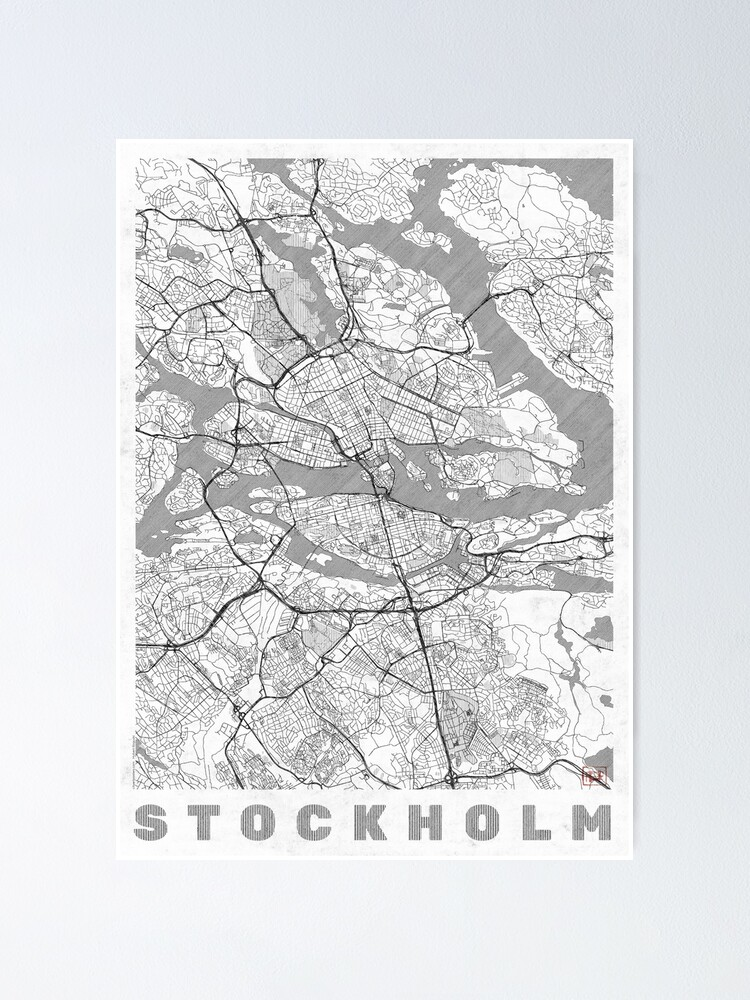 Alternate view of Stockholm Map Line Poster