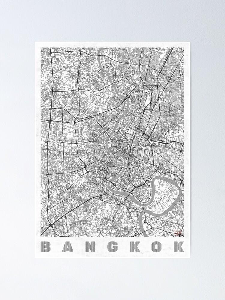 Alternate view of Bangkok Map Line Poster