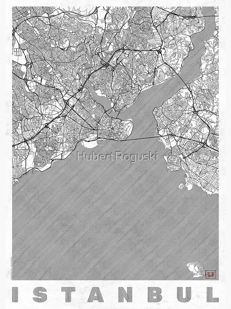 Istanbul Map Line by HubertRoguski