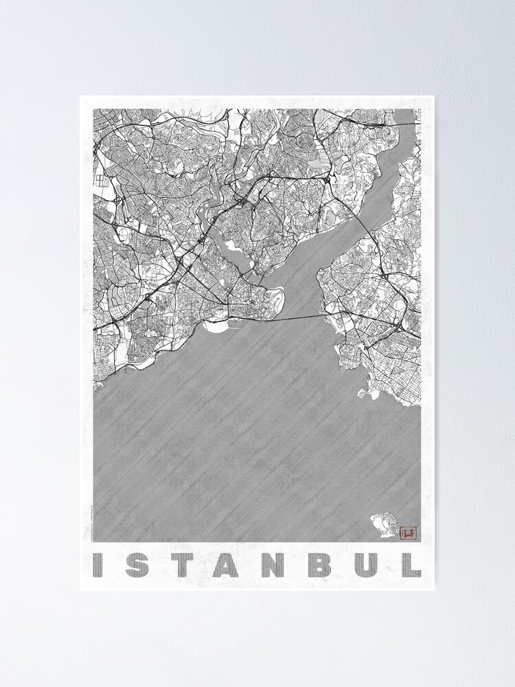 Alternate view of Istanbul Map Line Poster