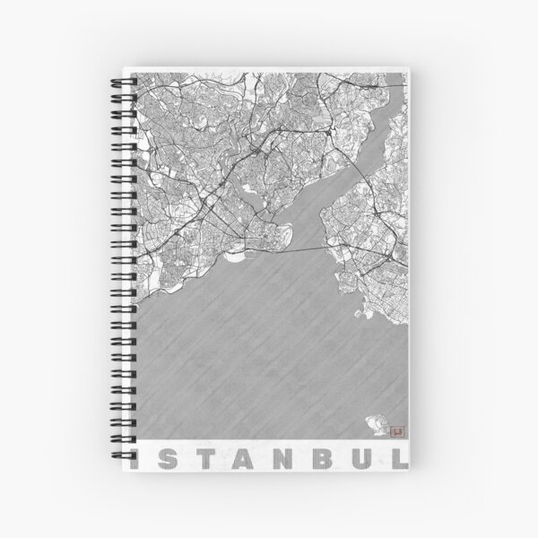 Istanbul Map Line Spiral Notebook