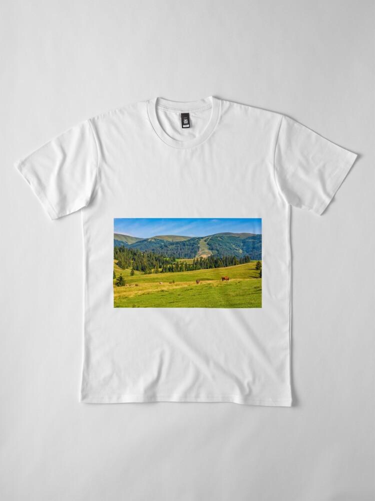 Alternate view of few cows grazing on hillside meadow Premium T-Shirt