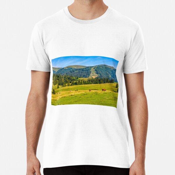 few cows grazing on hillside meadow Premium T-Shirt