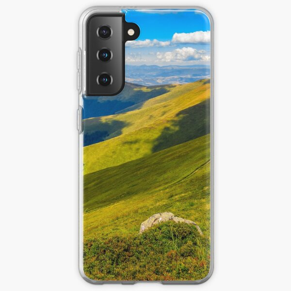 stone on the edge of mountain cliff Samsung Galaxy Soft Case