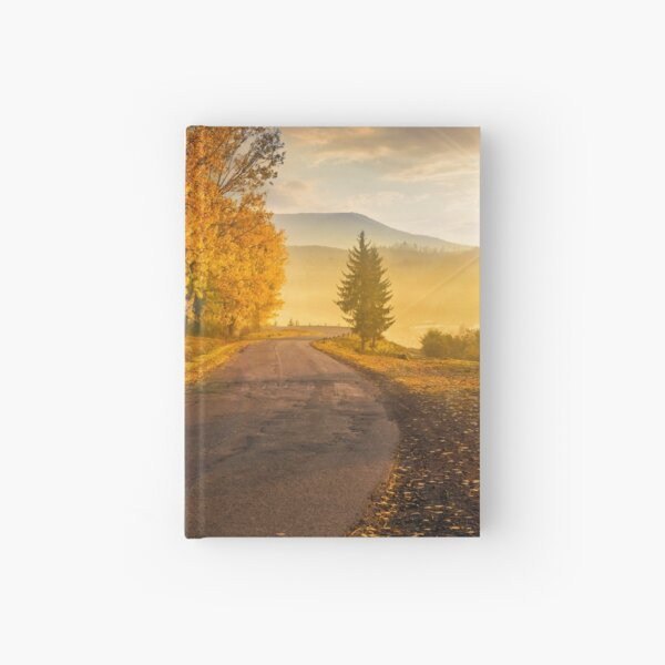 mountain road to village in mountains Hardcover Journal