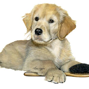 Golden Retriever Puppy with brush by lianeweyers
