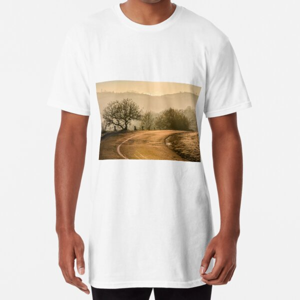 tree by the road in mountains at sunrise Long T-Shirt