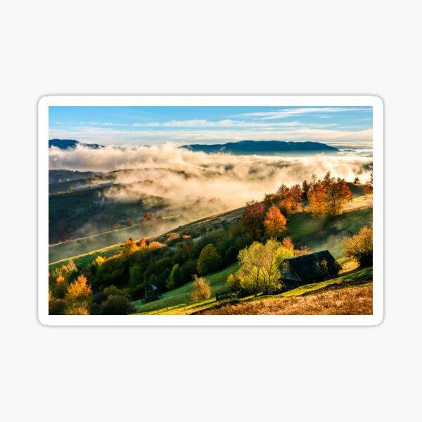 mountain rural area in foggy autumn morning Sticker