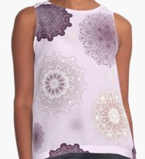 Mandala Moons Seamless Repeating Pattern on Purple Contrast Tank