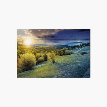 forest on a mountain hillside in rural area. day and night Art Board Print