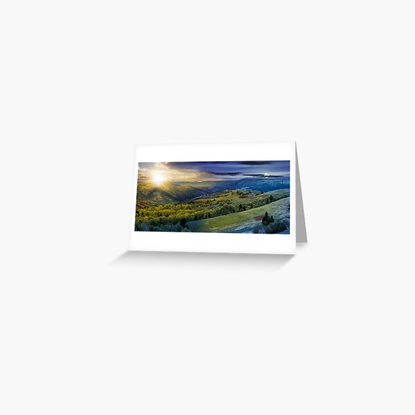 forest on a mountain hillside in rural area. day and night change Greeting Card